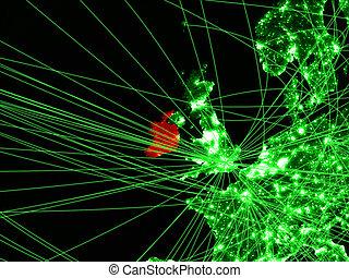 Ireland on green map