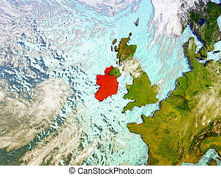 Ireland on illustrated globe