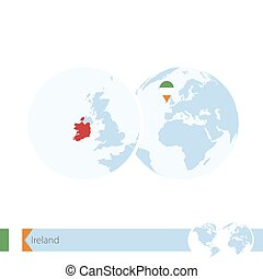 Ireland on world globe with flag and regional map of...