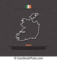 Republic of Ireland isolated map and official flag icons. vector Irish political map thin line icon over grunge background. EU geographic banner template. travel and business concept map