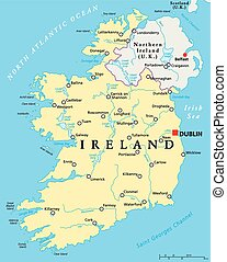 Ireland Political Map with capital Dublin, national borders, most important cities, rivers and lakes. English labeling and scaling. Illustration.