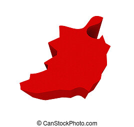 Ireland Red 3d Europe Map Isolated