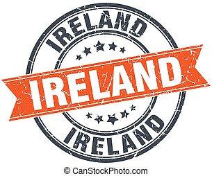 Ireland red round grunge vintage ribbon stamp