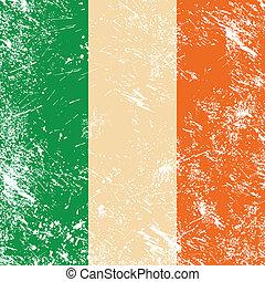 Ireland retro flag - Irish vintage flag - grunge style
