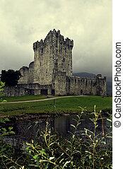 Ireland, Ross Castle with Gray Sky