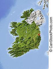 Ireland, shaded relief map - Ireland, Republic. Shaded...