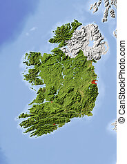 Ireland, shaded relief map - Ireland, Republic. Shaded...