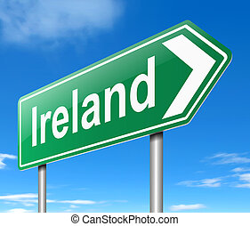 Illustration depicting a sign directing to Ireland.