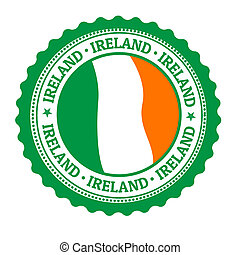 Stamp or label with Ireland Flag and the word Ireland written inside, vector illustration
