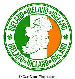 Ireland stamp - Grunge rubber stamp with ireland flag, map...