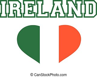 Ireland word with striped heart in green white orange