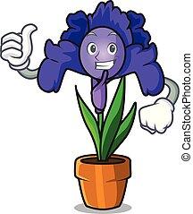iride, fiore, carattere, su, pollici, cartone animato