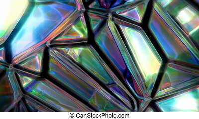 Iridescent crystal surface abstract motion background seamless loop