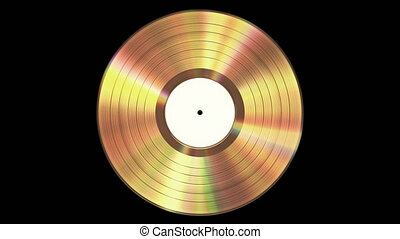 Iridescent Gold Vinyl Record On Black Background With Alpha Channel. Seamless Looped. 4K. Ultra High Definition. 3840x2160. 3D Animation.