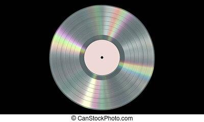 Iridescent Realistic Platinum Vinyl Record On Black ...