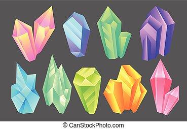 Iridescent stones set, minerals, crystals, gems, precious gemstones or semiprecious stones vector Illustration