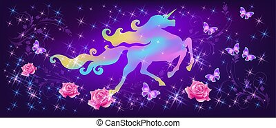 Iridescent unicorn with luxurious winding mane and butterflies against the background of the fantasy universe with sparkling stars and roses