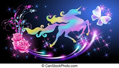 Iridescent unicorn with luxurious winding mane and butterfly against the background of the fantasy universe with sparkling stars and roses