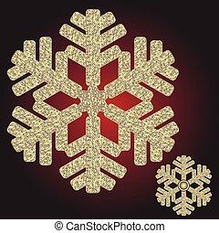 iridescente, grande, natal, dourado, snowflake