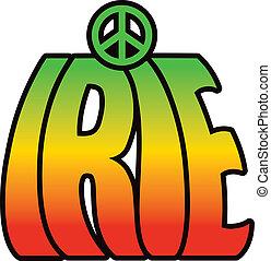 Retro-style IRIE type design in reggae colors.