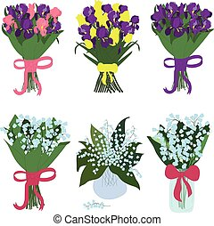 Iris and lilies of the valley, bouquets, vector