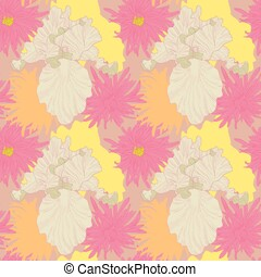 Iris and Petite Jenny flowers seamless pattern