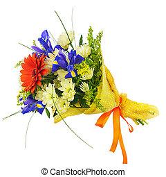 iris, bouquet fleur, gerbera, isolated., autre, fleurs