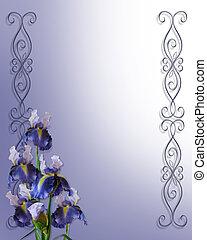 iris, coin, pour, invitation, carte