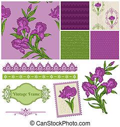 iris, communie, -, vector, ontwerp, plakboek, bloemen