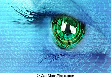 iris, concept, oog, binair, circuit, internet