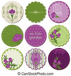 iris, elementos, etiquetas, -, vector, diseño, álbum de recortes, flores