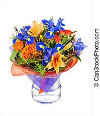 iris, fleur, lis, bouquet, flowers., autre, roses