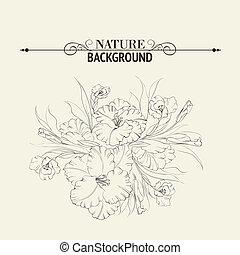 Iris flower isolated on white background. Vector...