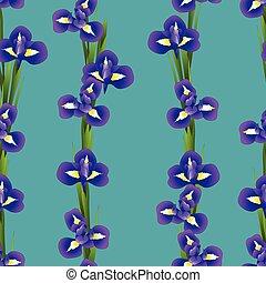 Iris Flower Seamless on Indigo Blue Background