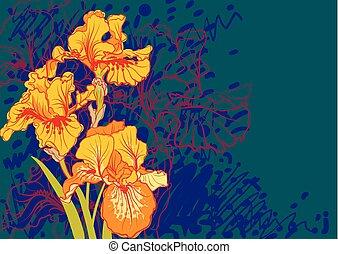 Iris flower  summer, textile, texture, vector, vintage