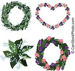 iris, lis, vecteur, vallée, bouquets