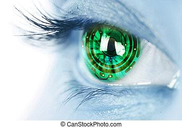 iris, oog, circuit, elektronisch
