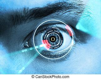 iris scan - laser scanning eye. blue tone