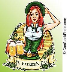 irisch, str., etikett, patricks, hübsches mädchen, tag