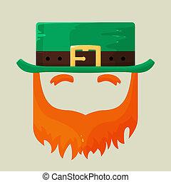 irisch, str., patricks, kobold, tag, ikone
