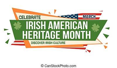 Irish american heritage month banner design on white background, vector illustration