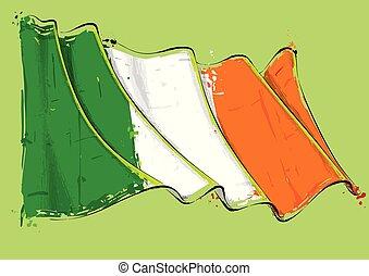 Irish Artistic Brush Stroke Waving Flag