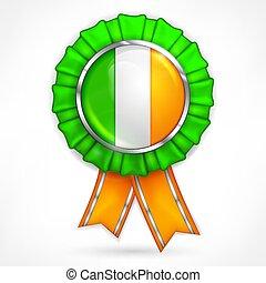 Irish award with shamrock on white. Vector illustration.