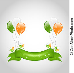 Irish balloons with clovers and ribbon for St. Patrick's Day