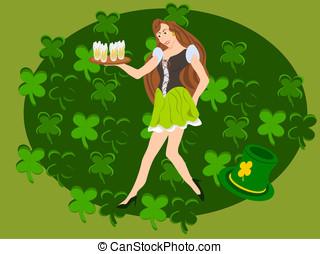 irish barmaid with clover backgrd - editable eps vector...