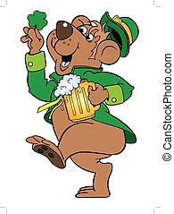 Irish Bear - vector cartoon art of a bear celebrating St....