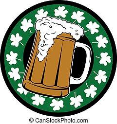 Irish Beer Mug - Beer mug full of beer, irish shamrocks in...