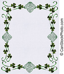 Irish border Celtic Unity knot Image and illustration composition for greeting card, stationery, wedding invitation or scrapbook border. White background with shamrocks and green ribbons.