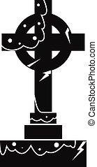 Irish celtic cross icon, simple style