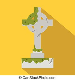Irish celtic cross with green slime icon